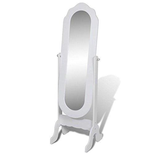vidaXL Boden Stehend Spiegel Standspiegel Weiß Ankleidespiegel Ganzkörperspiegel