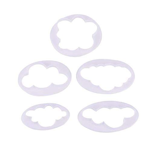 5pcs Nube Pasta De Azúcar Del Modelo De La Torta Decoración De La Impresión Del Molde Del Cortador De Molde Para Hornear El Pastel De Herramienta De La Cocina Utensilios Para Hornear Nube Gumpaste Que