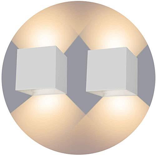 LEDMO 2 * 12W Lampade da Parete per Interni/Esterno LED Moderno, Applique da Parete Muro in Alluminio Angolo,Lampada Muro su e Giù Regolabile Design IP65 Impermeabile 3000K Bianco Caldo