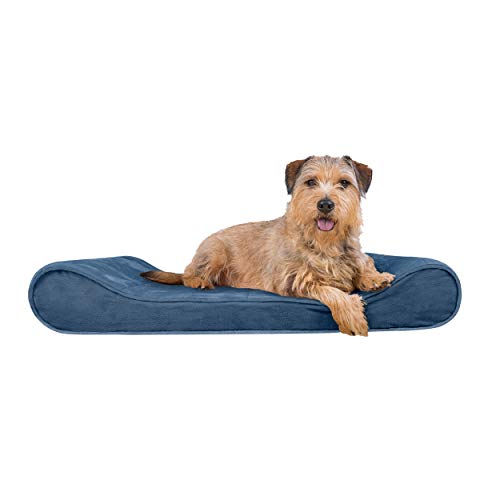 Furhaven Pet Dog Bed - Orthopedic Micro Velvet Ergonomic Luxe Lounger Cradle Mattress Contour Pet Bed with Removable Cover for Dogs and Cats, Stellar Blue, Large