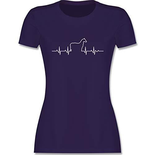 Pferde - Herzschlag Pferd - XXL - Lila - Pferde Shirt Spruch - L191 - Tailliertes Tshirt für Damen und Frauen T-Shirt