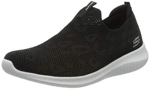 Skechers Damen Ultra Flex' Sneaker, Schwarz (Black Knit Mesh/White Trim BKW), 39 EU