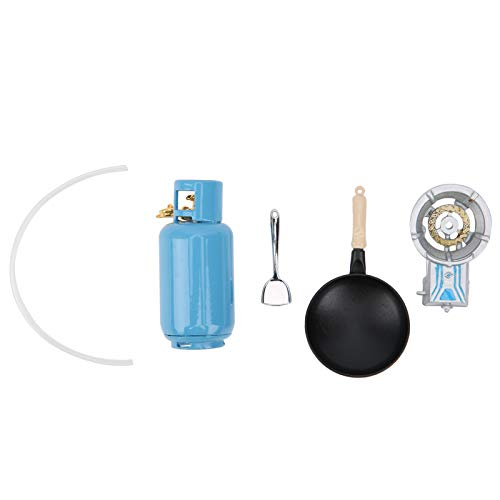 Komopesu Miniatura 1: 12 Casa en Miniatura Tanque de Estufa de Gas Simulada Mini Espátula Utensilios de Cocina Modelo de Decoración de Juguete Accesorios (No Contiene Gas)
