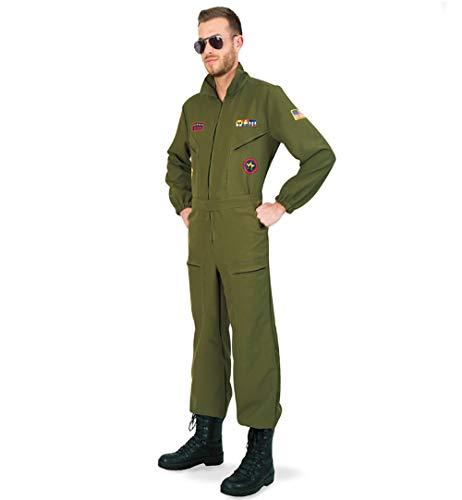 KarnevalsTeufel Kampfpilot Olivgrün Overall für Herren mit Brille (XL)