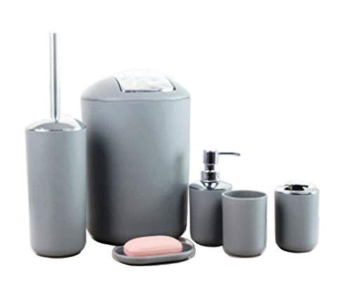 GMMH 6tlg BADSET Badezimmer ZUBEHÖR Set SEIFENSPENDER Halter WC BÜRSTE BADGARNITUR (grau Design 2)