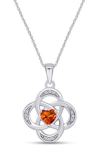 AFFY Celtic Knot Simulated Citrine Pendant Necklace in 14k White Gold Over Sterling Silver W/Chain 18'
