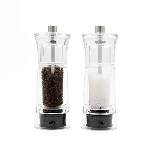 Cilio 600322 Set Pfeffermühle + Salzmühle Genova Acryl klar edelstahl 14 cm