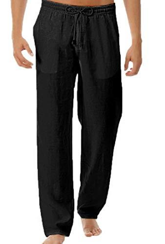 Calça longa masculina WAWAYA com cintura elástica, cor pura, cordão e perna reta, Preto, S