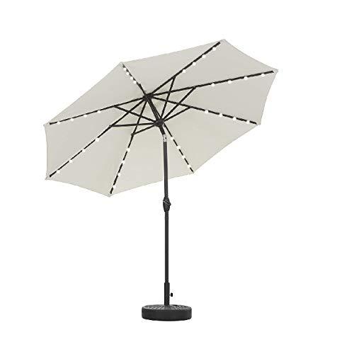 Leisurelife 9' Patio Umbrella Beige with Black Base, 21' 50-lbs