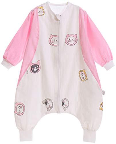 Chilsuessy Baby Sommer Schlafsack Ganzjahres Schlafsack mit Beinen 1 Tog Ganzjahres Baby-Schlafsack mit Füßen Schlafsack für Kleinkinder, Rosa Katze, 100/Baby Höhe 95-105cm