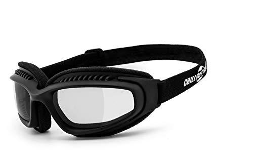 Chillout Rider | beschlagfrei, winddicht, selbsttönende HLT® Kunststoff-Sicherheitsglas nach DIN EN 166 Motorradbrille | schwarz, CR004-as