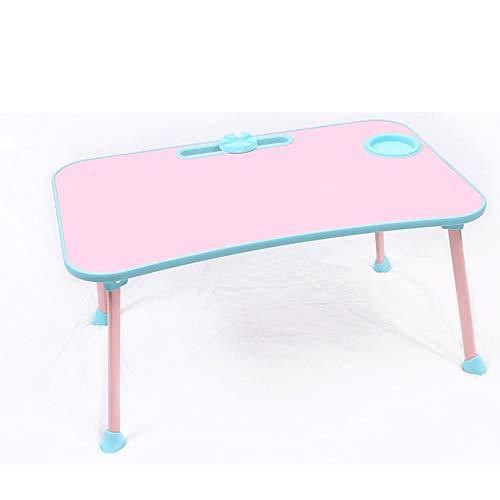 Bureau pliant, petite table d'étude simple sur le lit, bureau d'ordinateur portable for fille, bureau d'écriture en dortoir (Color : Pink)