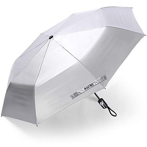 G4Free UPF 50+ UV Protection Travel Umbrella 46 Inch Windproof Silver Coating Sun Blocking Umbrella (Black)