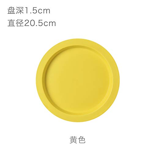 YUWANW Macaron Color Ceramic Cups and Breakfast Plates A Day with The Money Western Inventory Heart Cup, Bright Yellow Plate