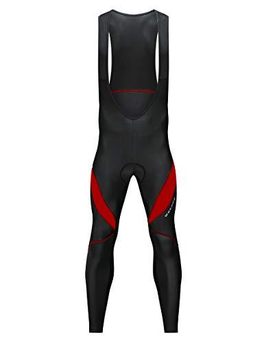 WOSAWE Herren Fahrrad-Hose Atmungsaktiv 4D Coolmax Gepolsterte Lange Hose Frühling Herbst Radlerhose (Lange Trägerhose Rot XXXL)