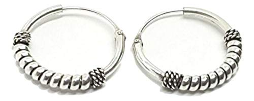 TANAMI Jewellery Supplies for Earrings Silver Bali Twist Style Bohemian Hoop Ethnic Hippy Style 5 Boxed Great for DIY Jewelry Gift for Women Girls