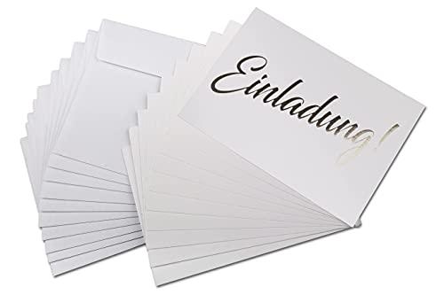 Einladungskarte gold, 10 einseitige Karten inkl. 10 Umschlägen, stilvolle schlichte Einladung für Hochzeit, Geburt, Baby, Taufe, Geburtstag, Jubiläum