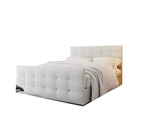 Designer Bett mit Bettkasten, Bett mit Matratze 140/160/180x200 cm mit dekorativen Knöpfen im Kopfteil, Gesteppte Kopfstütze - Cleo (Creme, 160 x 200 cm)