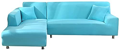HXTSWGS Eck Stretch-Sofabezug,Stretch Sofabezug Schonbezug, Waschbarer Möbelschutz 1-teiliger Couchbezug Soft für Kinder, Pets-Blue_145-185cm