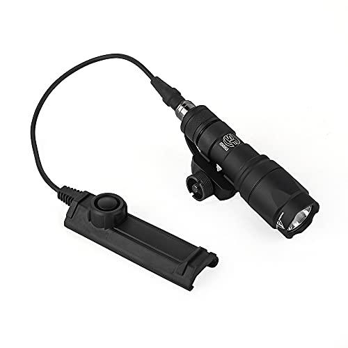 WADSN M300A フラッシュライト スカウトライト レプリカ 20㎜ レイル対応、デュアルリモートスイッチ付き、サバゲーの用シュアファイア タクティカルライト(ブラック)