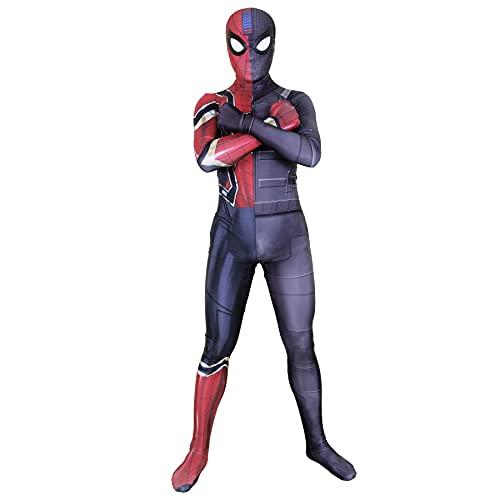 FLJLGY Traje de Disfraz de Spider-Man Stealth Traje de araña de Hierro Mono Adulto Halloween Cosplay Traje Ajustado Vestido Lujo Traje Combinado Ropa Mameluco Navidad,Black- Adult L 165~170cm