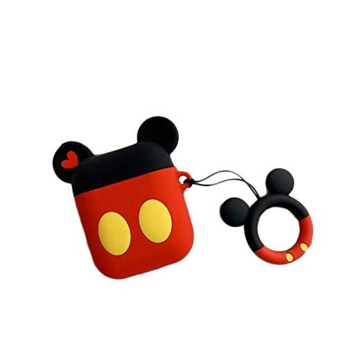 Cocomii 3D Disney AirPods Hülle, Schlank Dünn Matte Sanft TPU Silikon Gummi Gel Mit Schlüsselring 3D-Disney-Figuren Karikatur Mode Case Bumper Cover Schutzhülle Compatible with Apple AirPods (Mickey)