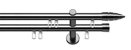 Tilldekor Innenlauf Gardinenstange MENORCA, 2-Lauf,  edelstahl optik, Ø 20 mm, 160 cm, inkl. Trägern und Gleitern