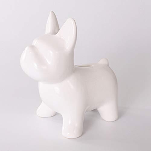 vbfdde Bulldog Sculpture Coin Storage Box Cartoon Ceramic Puppy Statue Piggy Bank Home Decor Animal Figurine Money Box Gift (White)