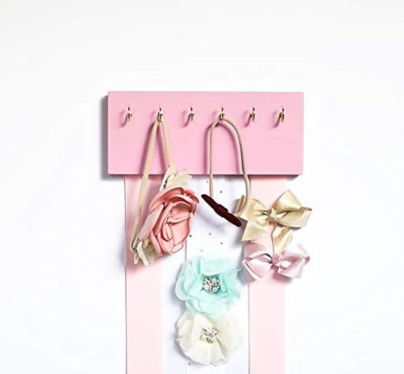 Pink Wood Long Ribbons Bow Organizer Headband Holder Poplar Plaque Hooks Organizer Handmade High Quality Nursery Girls Room Decor Pink Wood Pink White Ribbon