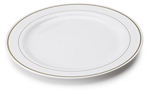 MOZAIK 20 platos de plástico de 23cm en color blanco con el