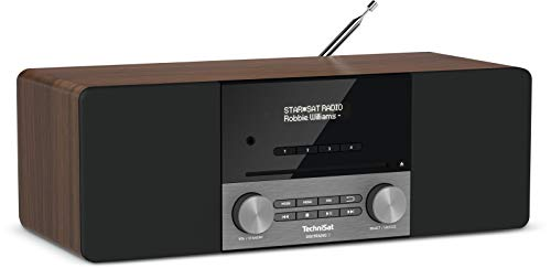 TechniSat DIGITRADIO 3 - Stereo DAB Radio Kompaktanlage (DAB+, UKW, CD-Player, Bluetooth, USB, Kopfhöreranschluss, AUX-Eingang, Radiowecker, OLED Display, 20 Watt RMS) nussbaum