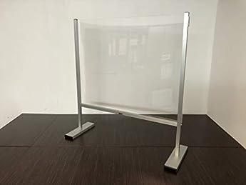 Foto di Barriera antibatterica protezione da virus in plexiglass, divisorio parafiato in plexiglass, robusta struttura in alluminio, collegabile lateralmente all'infinito.