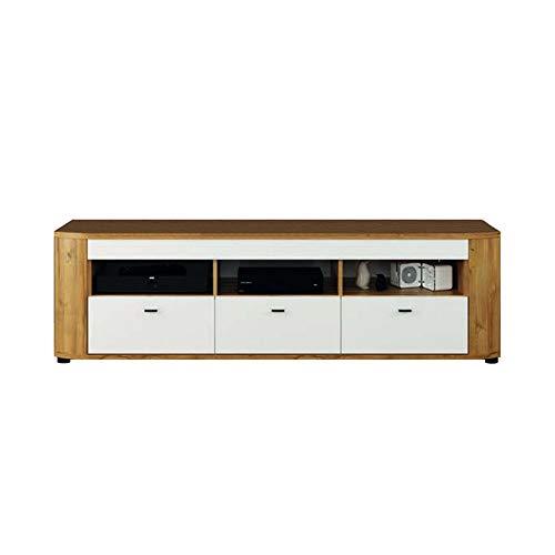 Newfurn TV Lowboard natuur TV kast TV tafel rek board II 175,8x51,7X 44 cm (BxHxD) II [Thies.one] in Grandson eiken donker/hoogglans wit woonkamer slaapkamer