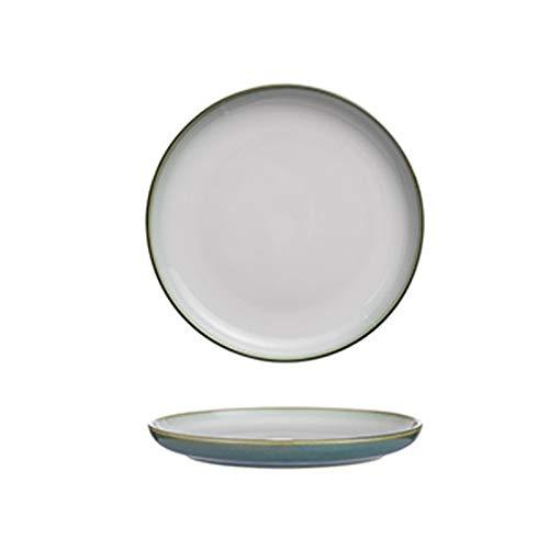 Hanpiyigcp Platos, Platos de Cena Porcelana, para Pizza Matte Glaze Postre Platos.Color: Azul, marrón, Gris, Verde (Color : Green)