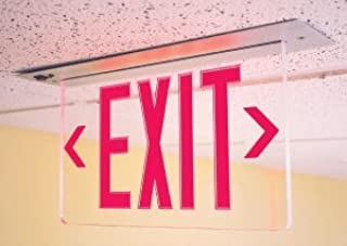 Recessed Ceiling Mount Edge Lit Exit Sign Red LED with Battery Backup - Single Face - Adjustable Arrows