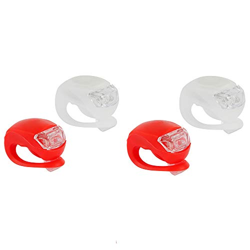4 Stück LED Fahrradlicht Sicherheitslicht Silikon wasserdichte Leuchte Nachtfahrt Sicherheit Warnung Frosch Geometrisch Vorne Rücklicht für Rennräder Mountainbikes Helme Rucksack Kinderwagen Fahrrad