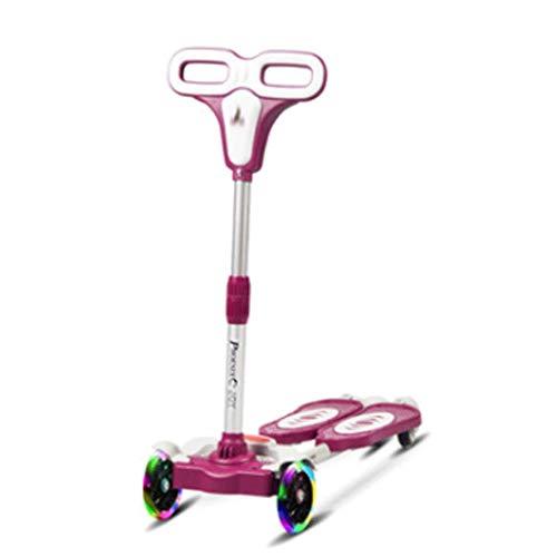 Scooters para Niños Scooter de patada ajustable de la altura de la lacaidora de cuatro ruedas para niños con 4 ruedas mejores regalos para edades 3-5 5-8 6-12 niños pequeños niñas Antideslizante Scoot