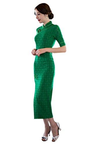 XueXian(TM) Mujer de Oriental Qipao Largo Verde(China XL/EU 40,Verde)