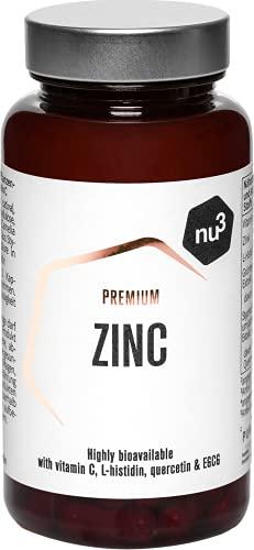 nu3 Zinc Premium - Suplemento de zinc (10 mg) y vitamina C (80mg) - 120 capsulas veganas con L-histidina – Fortalece el sistema inmunológico - Protege las uñas, piel y el pelo del daño oxidativo