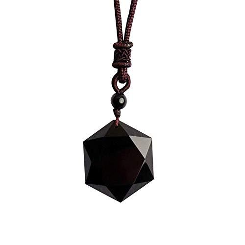 PINBinyee Collar De Labradorita (Cuerda Ajustable) Piedra De Cristal Natural Piedra De Luna Original Tejida A Mano Negro