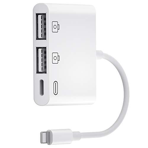 Adaptador de Cámara USB,Adaptador USB OTG Hembra 3 en 1 Adaptador Light-Ning a Dual USB con Cable de Carga Sincronización de Datos,Compatible con Phone 11/X/XS/XR/8/7/6 y Pad,Compatible con iOS 13