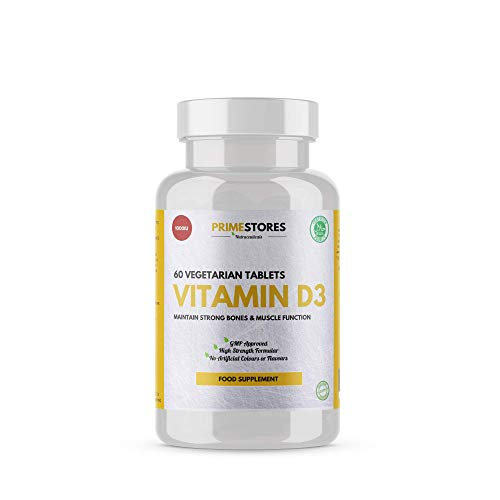 Vitamin D3 Bone Conditioning Pills 1000iu - 60 Vegetarian Tablets - Halal Joint and Teeth Strengthening Supplements by Primestores