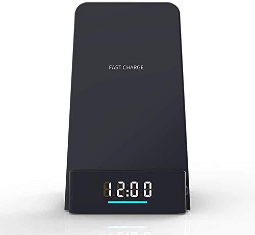 MRTYU-UY Cargador inalámbrico de 10 vatios con Reloj, Tiempo de visualización de Carga rápida inalámbrica, Soporte para teléfono móvil para iPhone XS MAX XR XS X 8 Plus, para Samsung S10 S9 S8