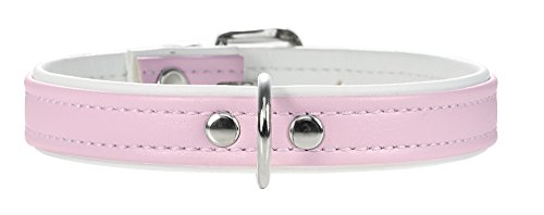 HUNTER Hundehalsband, Modern Art, Kunstleder, kleine Hunde, klassisch, 32 (XS), rosa/weiß