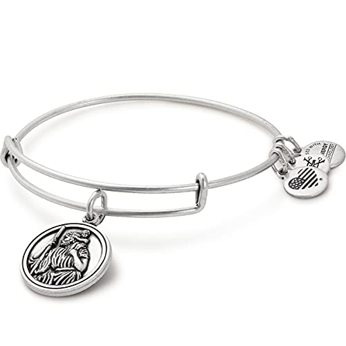Alex and Ani Divine Guides Expandable Bangle Bracelet for Women, Saint Christopher Charm, Rafaelian Silver Finish, 2 to 3.5 in
