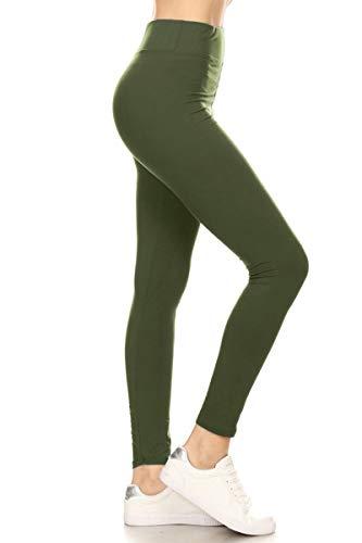 LYX128-OLIVE Yoga Solid Leggings, P…