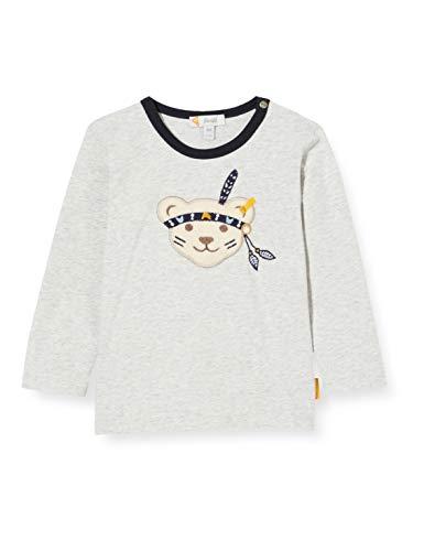 Steiff Baby-Jungen mit süßer Teddybärapplikation T-Shirt Langarm, Soft Grey Melange, 074