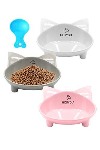 HORYDIA Futternapf Katze 3 Stück Melamin Katzennäpfe Mit Haustier Essen Löffel Set rutschfeste Napf Lecksicher Wasser&Lebensmittel Kippen Sie Cat Bowl Zur Erleichterung von Whisker Müdigkeit.