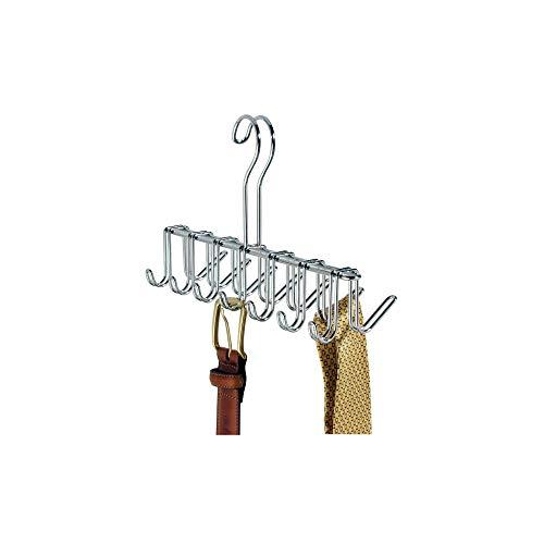 iDesign Krawattenhalter mit 14 Haken, kleiner Gürtelhalter aus verchromtem Metall, Hängeorganizer für Gürtel und Krawatten, silberfarben