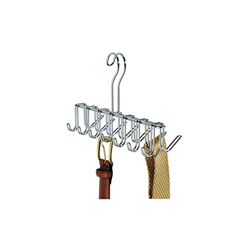 iDesign Classico Metal Tie Hanger Hanging Closet Organization Storage Holder for Belts Men#039s Ties Women#039s Shawls Pashminas Scarves Clothing Accessories Horizontal Rack